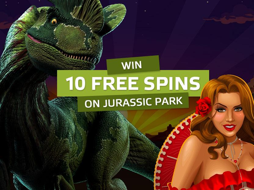 10 FREE SPINS ON JURASSIC PARK